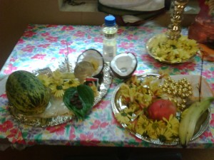 Celebrating vishu in US vishukani